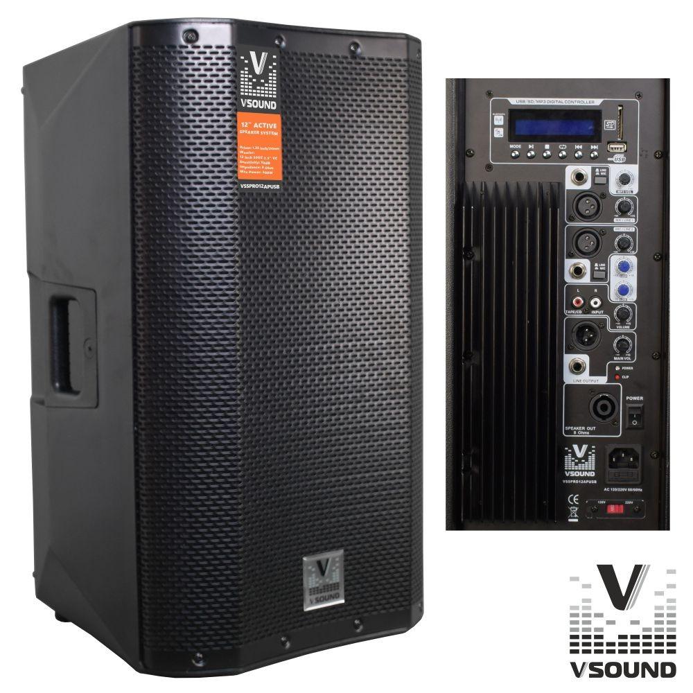 Coluna Bi-Amplificada PRO 12 USB/SD/FM/BT 500W VSOUND