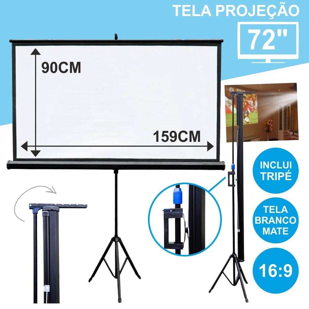 Tela Projeção C/ Suporte Tripé 72 159x90cm 16:9