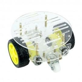 Kit Carrito Robot 2WD Redondo con 2 Pisos y 2 Ruedas Libres para Arduino - Transparente