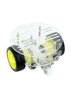 Kit Carrinho Robot 2WD Redondo Com 2 Andares 2 Rodas Livres Para Arduino - Transparente
