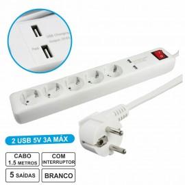Extensão Elétrica com 5 Saídas + 2 USB 3A e Interruptor