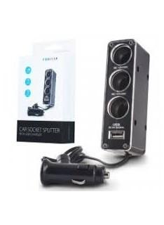 Adaptador de Isqueiro com 3 Saídas e 1 USB