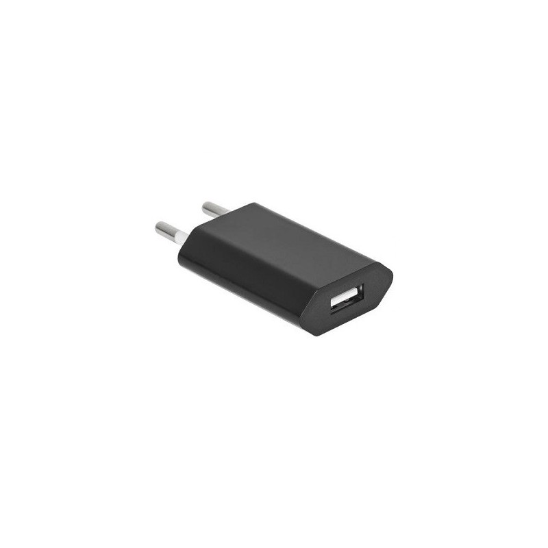 Compact Power Adapter with 5V 1A USB Port - Black