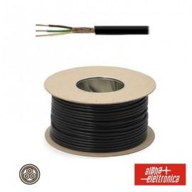 Cable Electrónico de 3 Conductores y Malla - Negro (al metro)