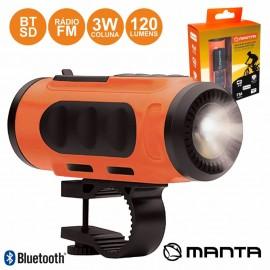 Lanterna para Bicicleta com Coluna Leitor BT/FM/SD/USB - Manta