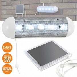 Lanterna de 5 LEDs com Painel Solar e Bateria