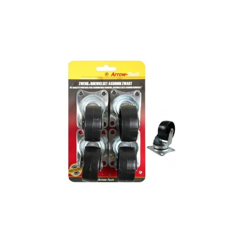 Pack de 4 Rodas Pretas (4x50mm) - ProFTC