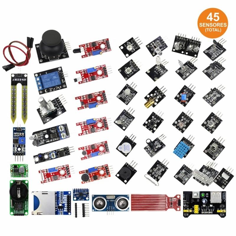 Kit 45 Módulos Sensores Para Arduino Ou Raspberry Pi
