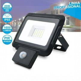 Foco LED 20W 230V com Sensor 6000K 1600LM Preto